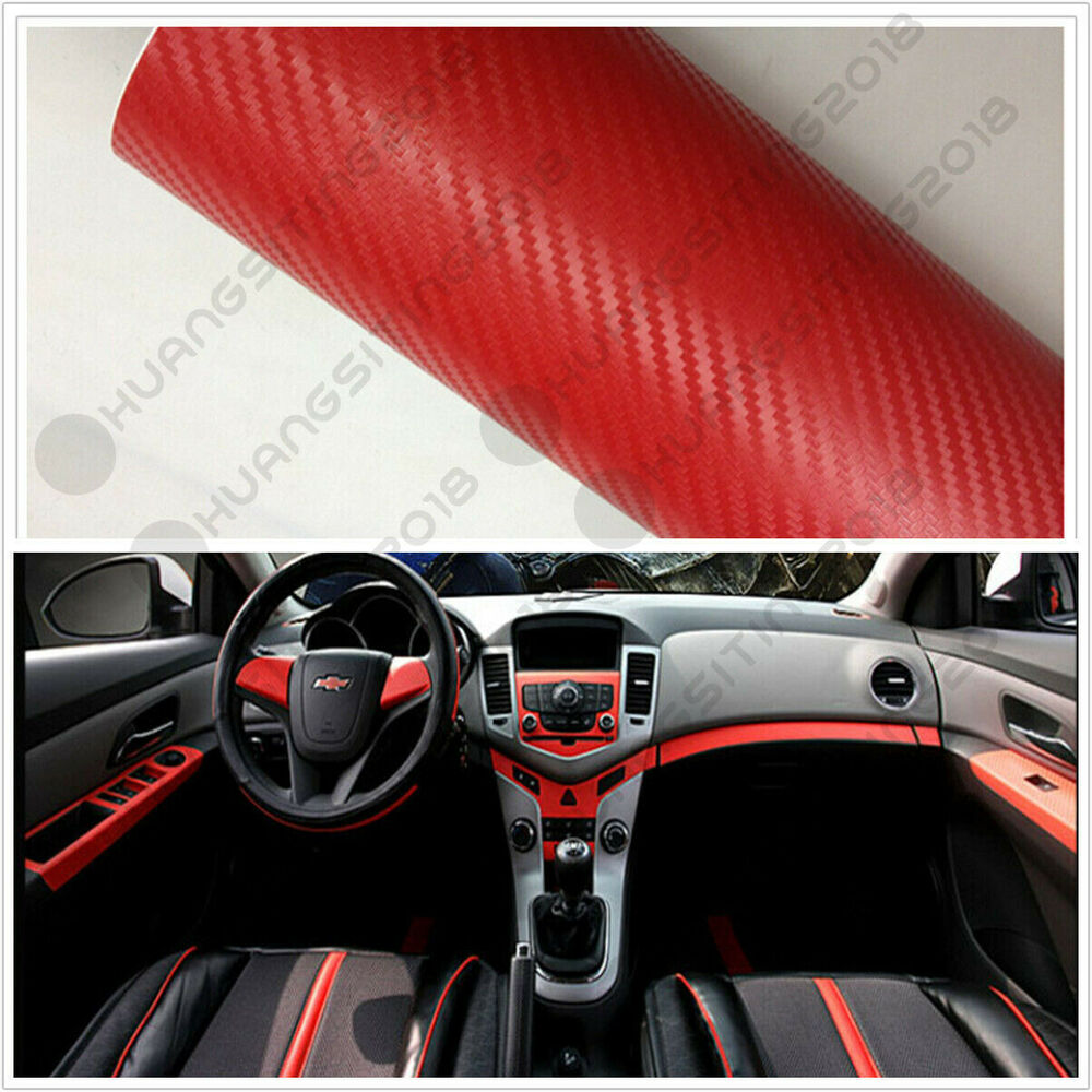 Red Carbon Fiber Vinyl Wrap Sticker Auto Interior