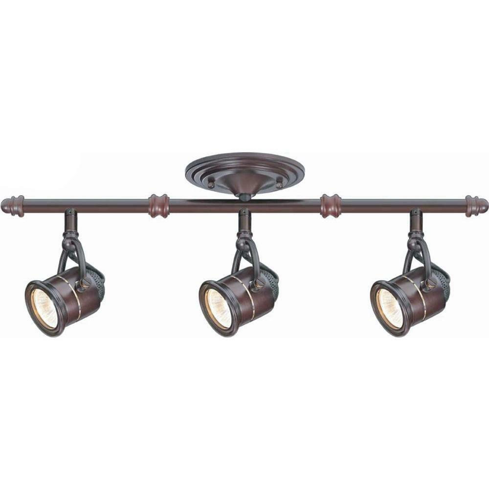 Vintage Brass Track Lighting: 3-Light Ceiling Bar Track Lighting Kit Antique Bronze