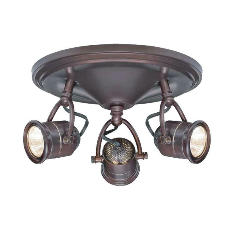 Celing Light Fixtures: 3-Light Track Lighting Antique Bronze Round-Base Pinhole