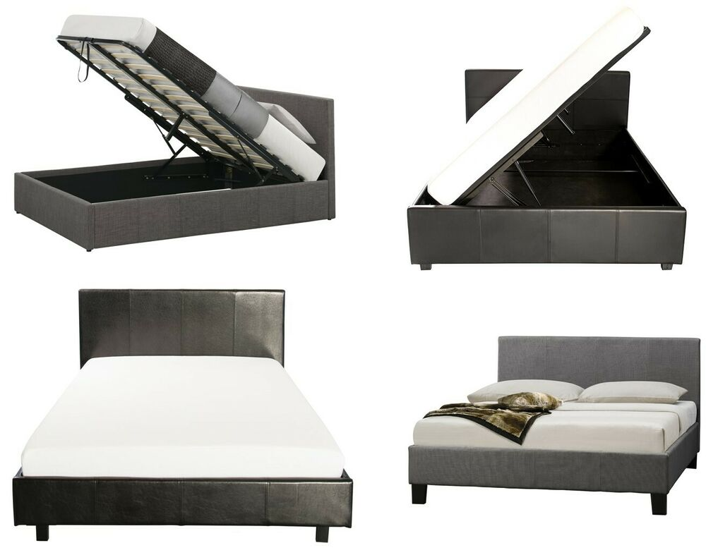 Fabric Or Leather Ottoman Bed Side Or End Gas Lift