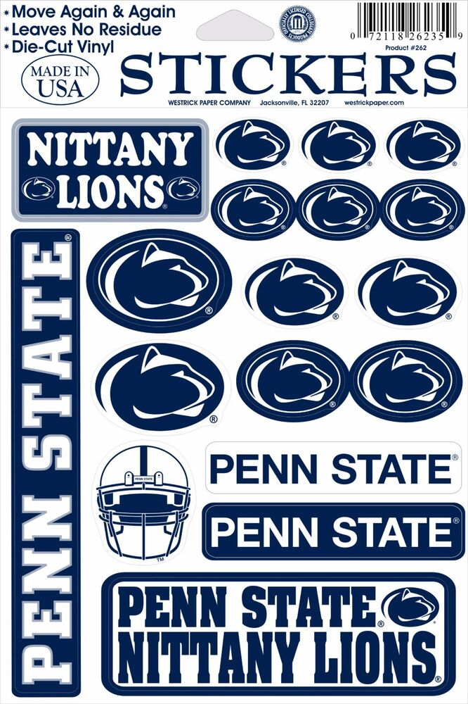 penn state nittany lions vinyl die cut sticker decals ebay. Black Bedroom Furniture Sets. Home Design Ideas