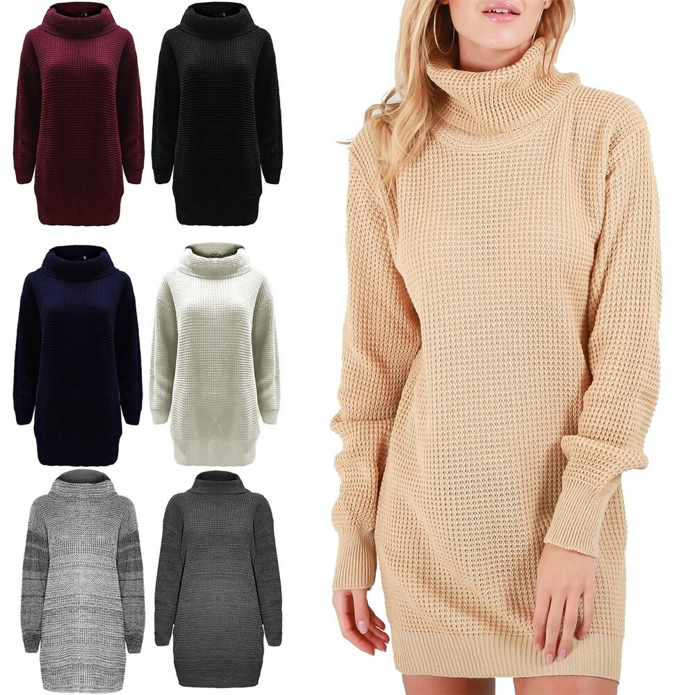 Ladies Chunky Knitted Womens Long Sleeve Oversized Roll