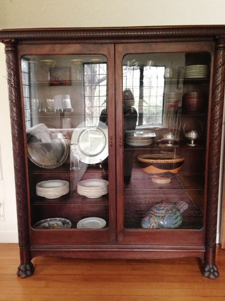 Victorian China Cabinet Carved Claw Foot Solid Mahogany