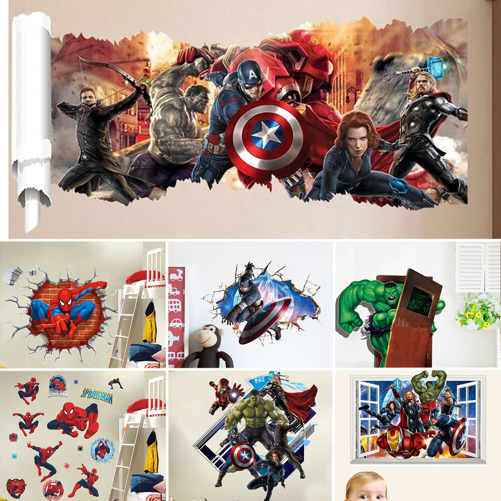 Marvel super hero removable kids frame home room wall for Childrens wall mural stickers