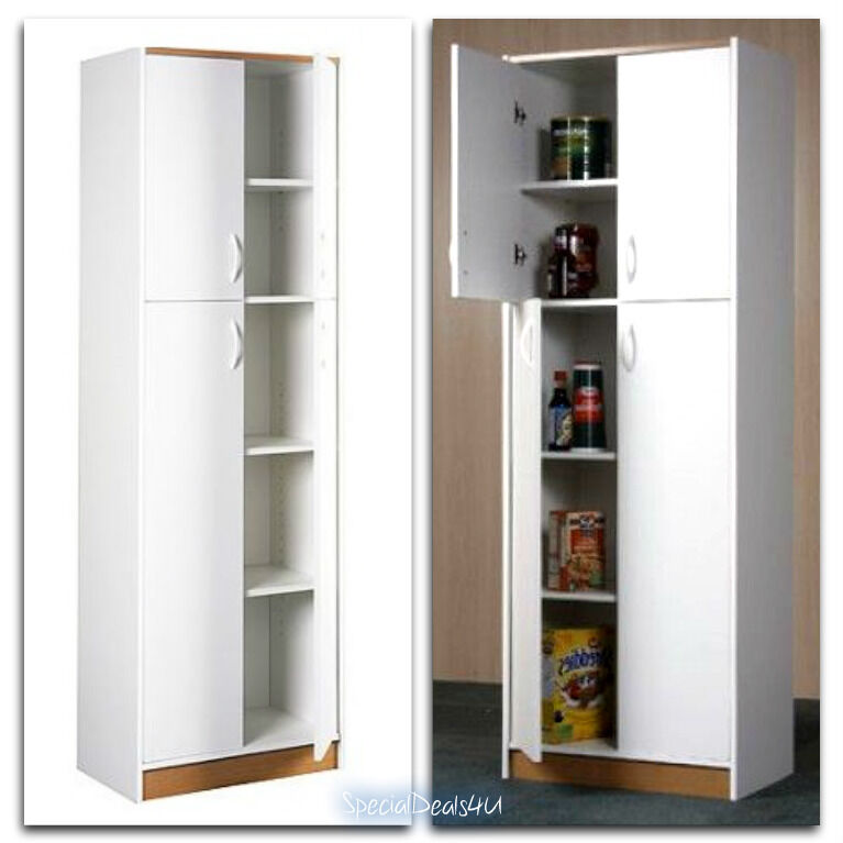 Kitchen Pantry Storage Cabinet 4 Door Wood Organizer Furniture Cupboard White Ebay