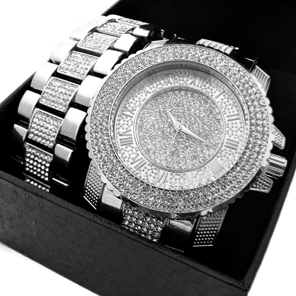 hip hop set iced out silver tone numerals mens