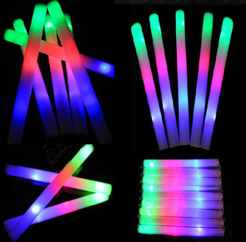 100 pack neon led foam glow light sticks party baton wands for Led wands wholesale