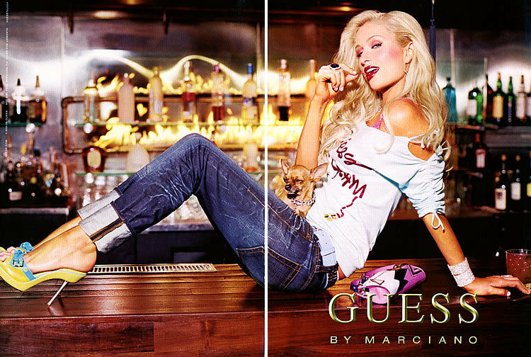 2004 Guess Jeans Marciano Paris Hilton sitting on bar ... Guess Jeans Ad