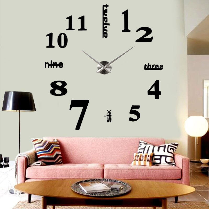 wanduhr wand uhr wohnzimmer spiegel wandtattoo deko xxl 3d diy schwarz modern ebay. Black Bedroom Furniture Sets. Home Design Ideas