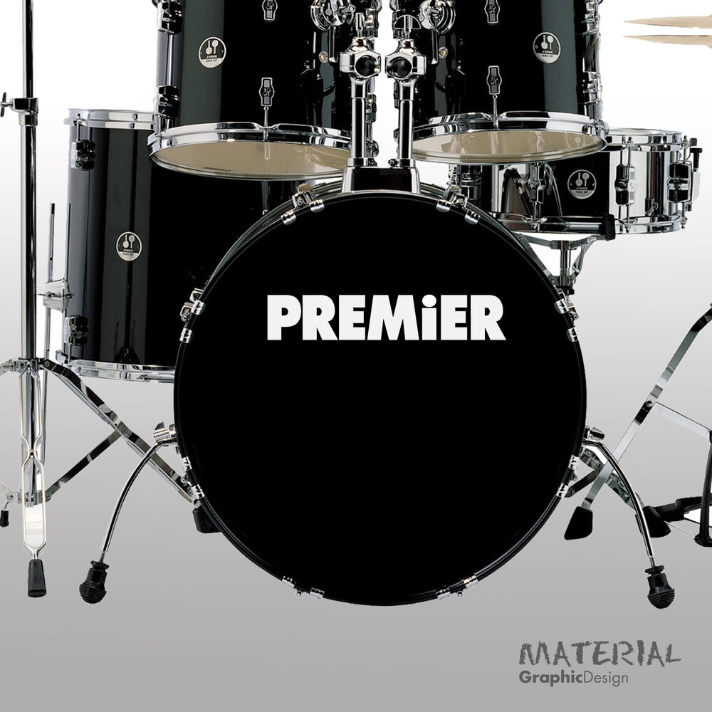 Details about 2x premier logo sticker decal bass drum head skin drums kit percussion wall