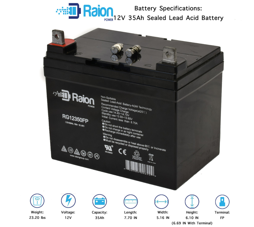 raion power marine deep cycle battery agm 12v 35ah battery. Black Bedroom Furniture Sets. Home Design Ideas
