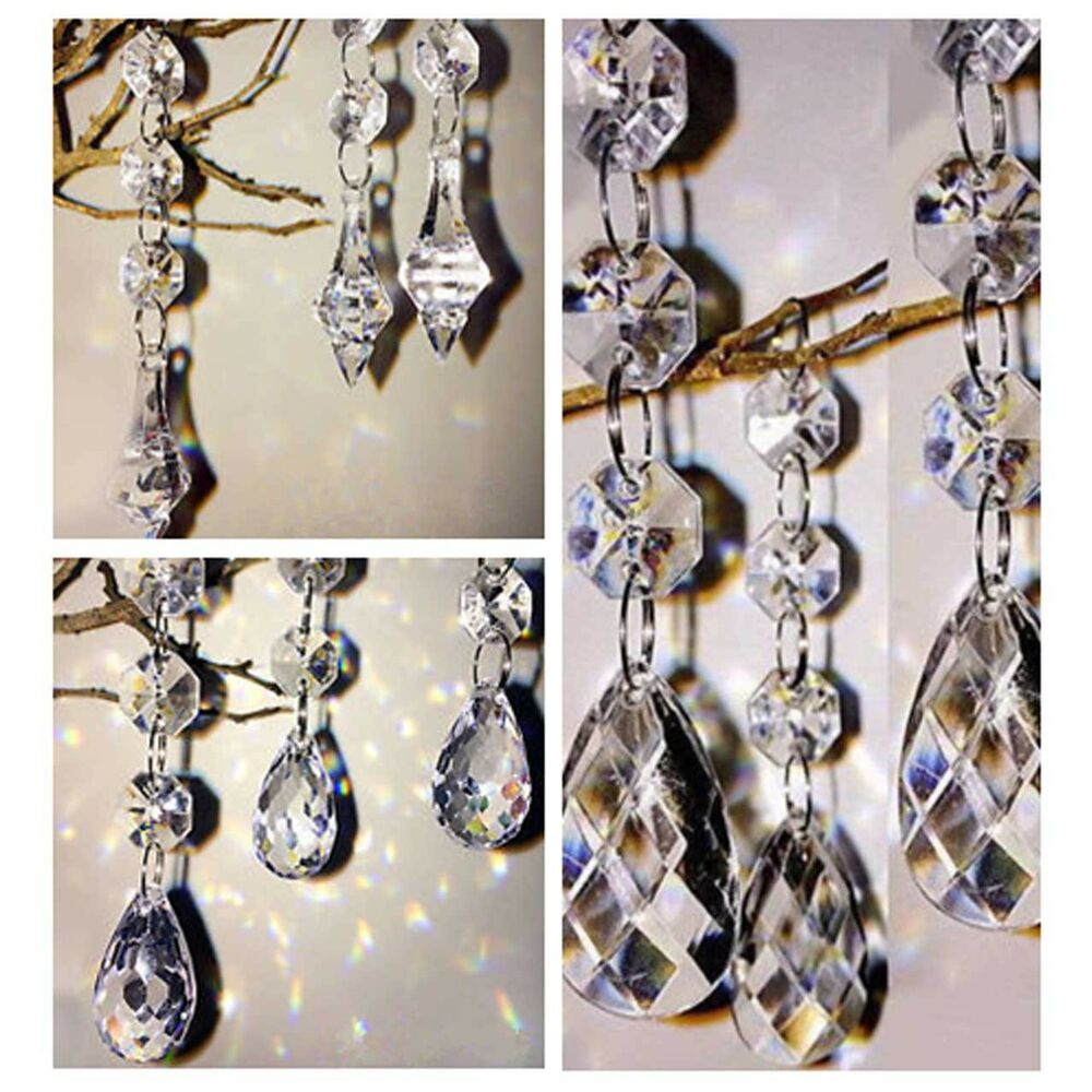 60pcs acrylic crystal beads garland chandelier hanging for Plastic chandeliers for parties