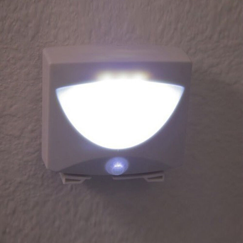 new indoor outdoor wall small mighty light motion light led sensor white ebay. Black Bedroom Furniture Sets. Home Design Ideas