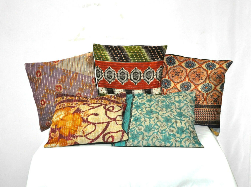 Decorative Pillow Cover Sets : Set Of 5 Pillow Cover, Vintage Kantha Decorative throw Pillow, Kantha Pillow eBay