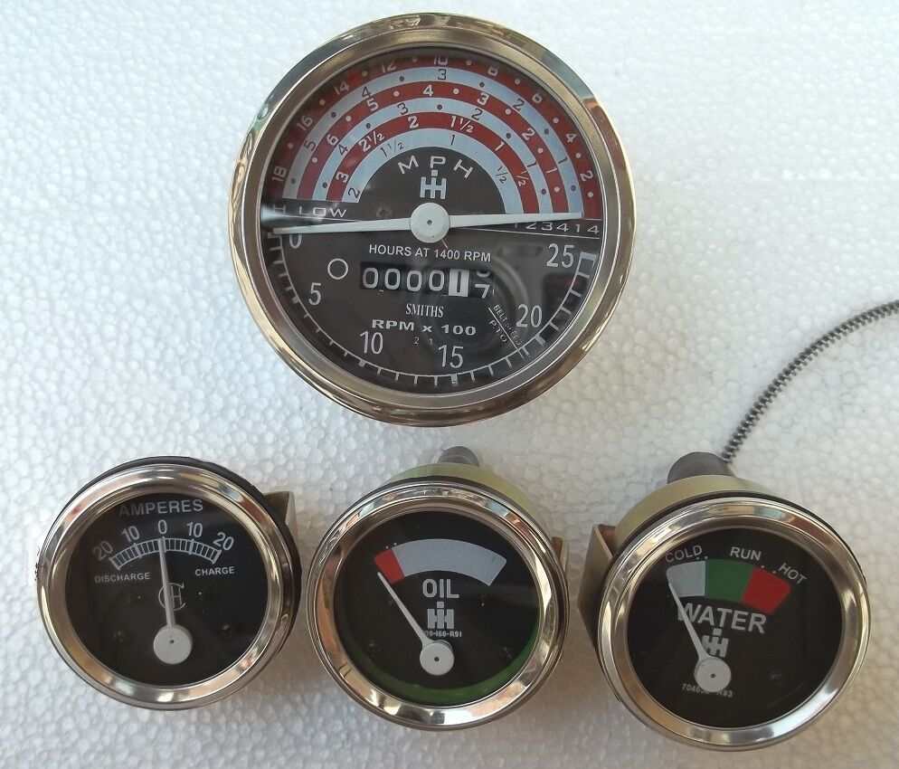 Heavy Equipment Gauges : Ih b  tractor tachometer oil temp