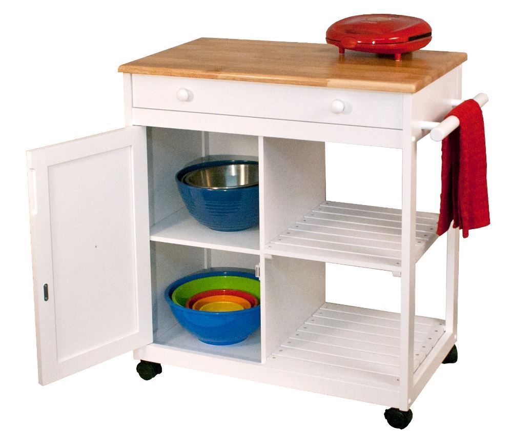 Kitchen Island Storage Cabinet Wood Top Cupboard Portable: Kitchen Island Rolling Cart Mobile Portable Utility