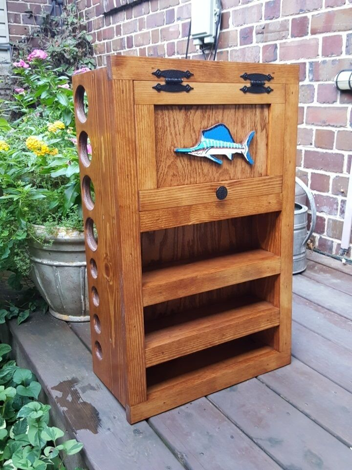 Fly Rod Amp Reel Storage Cabinet Pick Stain Amp Fish Fly
