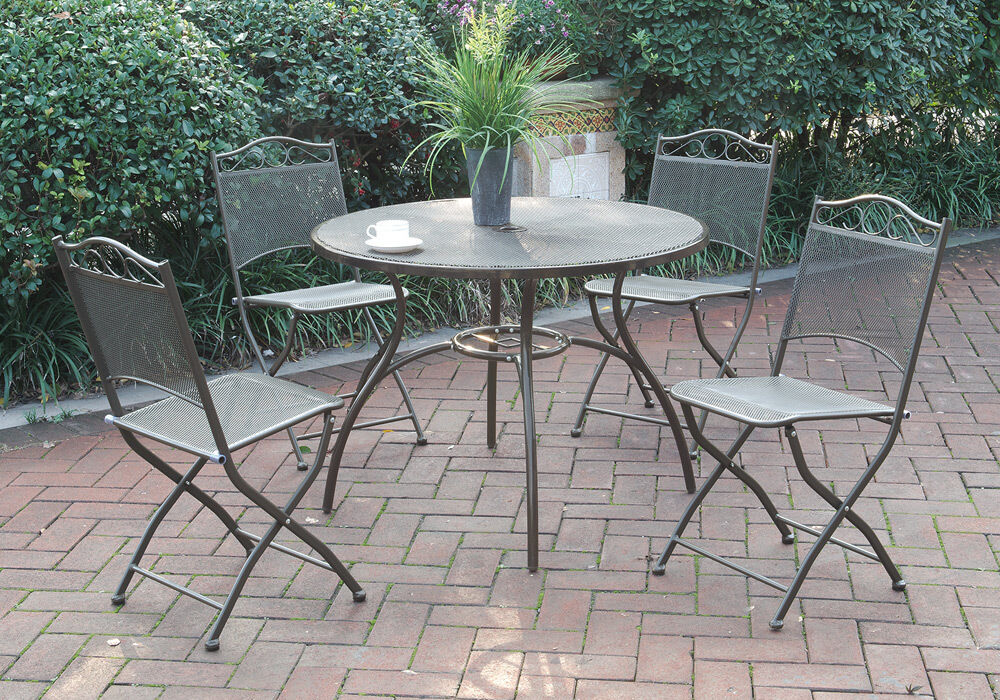 Outdoor Dining Room Table And Chairs: 5 Pc Patio Outdoor Garden Yard Dining Set Round Table