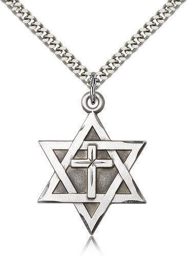 Sterling silver jewish star of david catholic cross for Star of david necklace mens jewelry