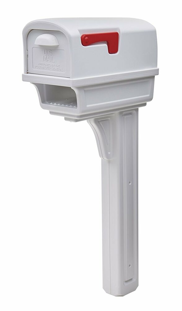 New White Mailbox Post Office 4 In Pole Mount Mail Box