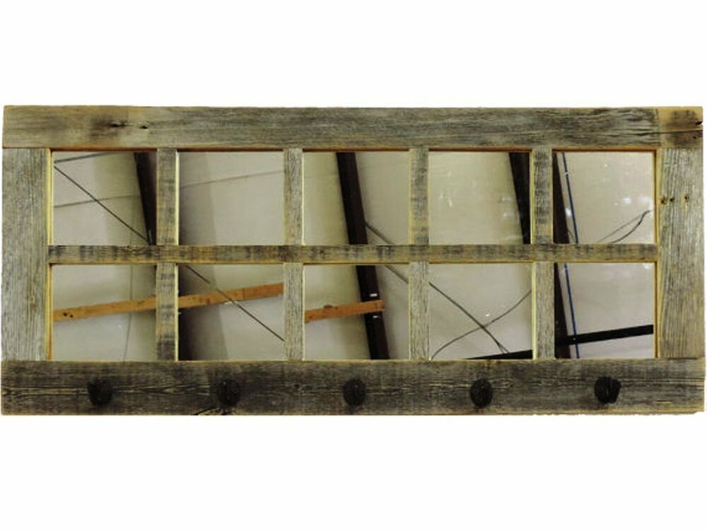 Reclaimed barn wood large rustic 10 pane window mirror Window pane mirror