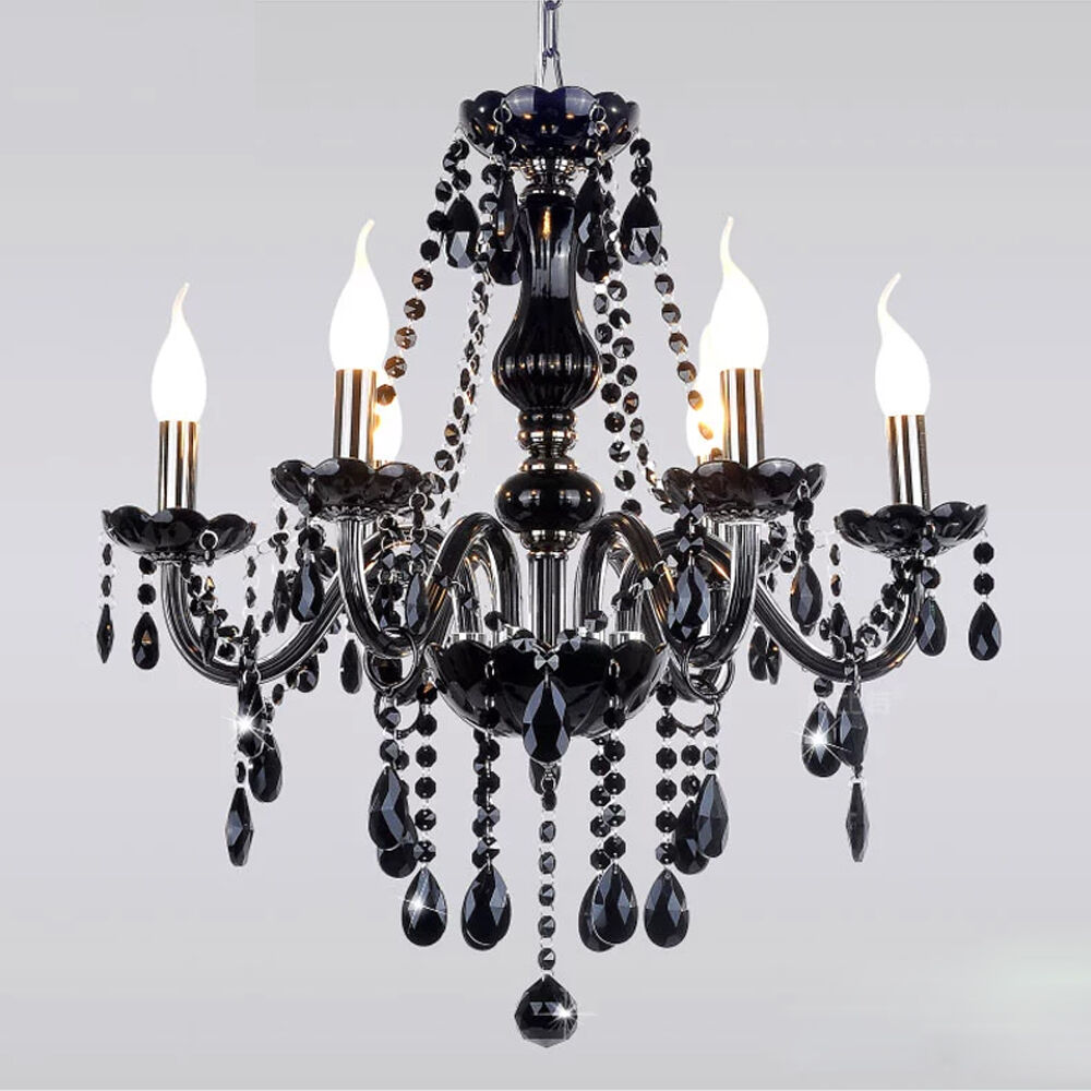 Black Chandelier Fan: Industrial Black Crystal Chandelier Ceiling Light Pendant