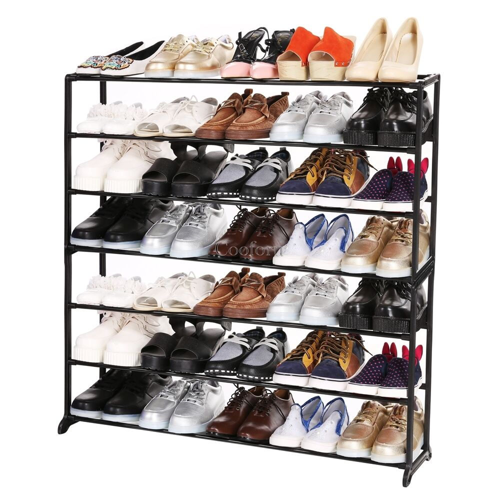 Space saving storage organizer 50 pair shoe tower rack free standing co99 ebay - Shoe rack for small space set ...
