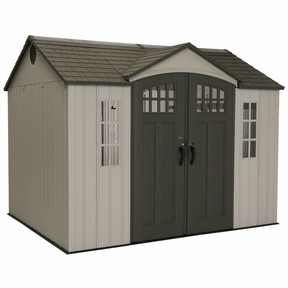 Lifetime 10x8 Plastic Shed W Skylight Windows Shelving