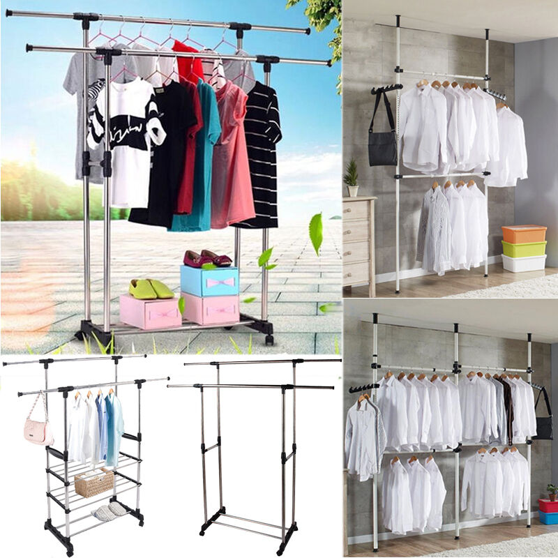 Double rail adjustable portable clothes display hanger for Clothes rail on wheels ikea