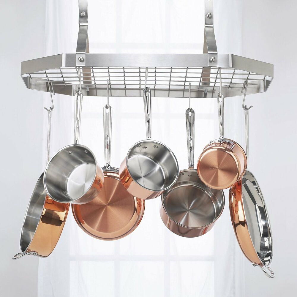 Silver octagonal hanging rack pots pan kitchen hooks for Pot racks for kitchen