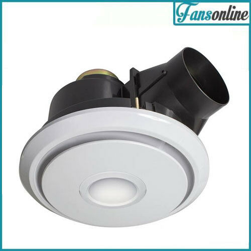 Fanco luna led 250 quiet exhaust fan with light white bathroom extraction ebay for Bathroom exhaust fan with led light