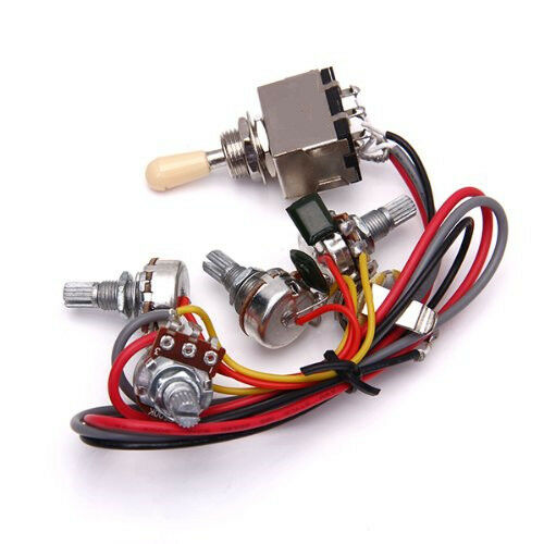 wiring harness 3 way toggle switch 2v2t 500k pots jack les paul lp guitar ebay. Black Bedroom Furniture Sets. Home Design Ideas