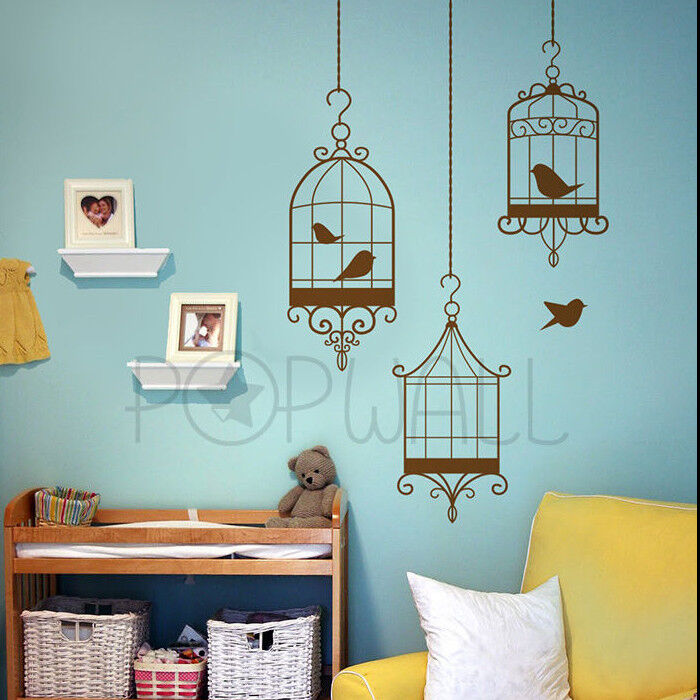 Decorative Bird Cages Wall Decal Birds Escaping From