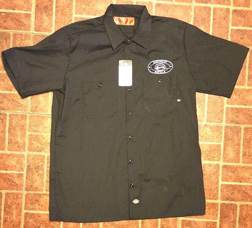 New dickies navy embroidered chevrolet impala stars logo for Embroidered dickies work shirts