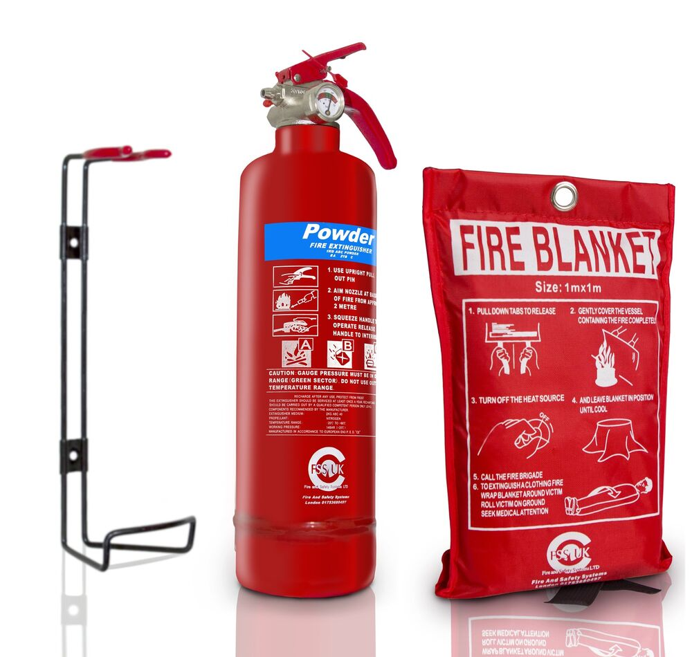 Offer 1 Kg Powder Abc Fire Extinguisher With Fire Blanket Home Office Kitchen Ebay