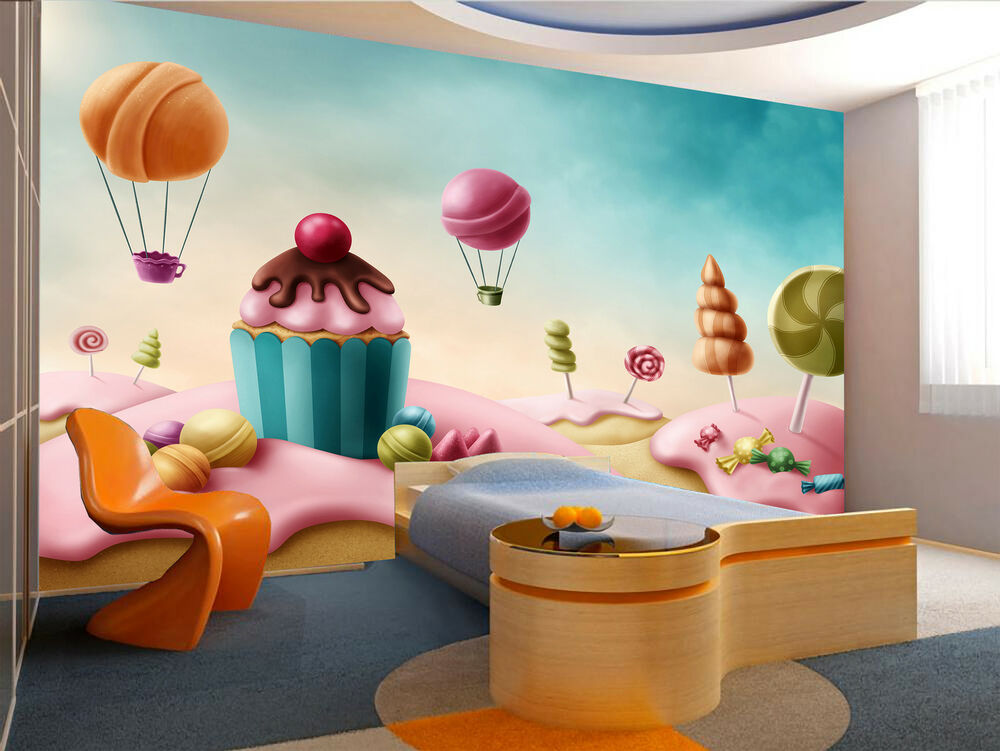 fantasy candy land wall mural photo wallpaper giant decor paper poster 7104696381870 ebay. Black Bedroom Furniture Sets. Home Design Ideas