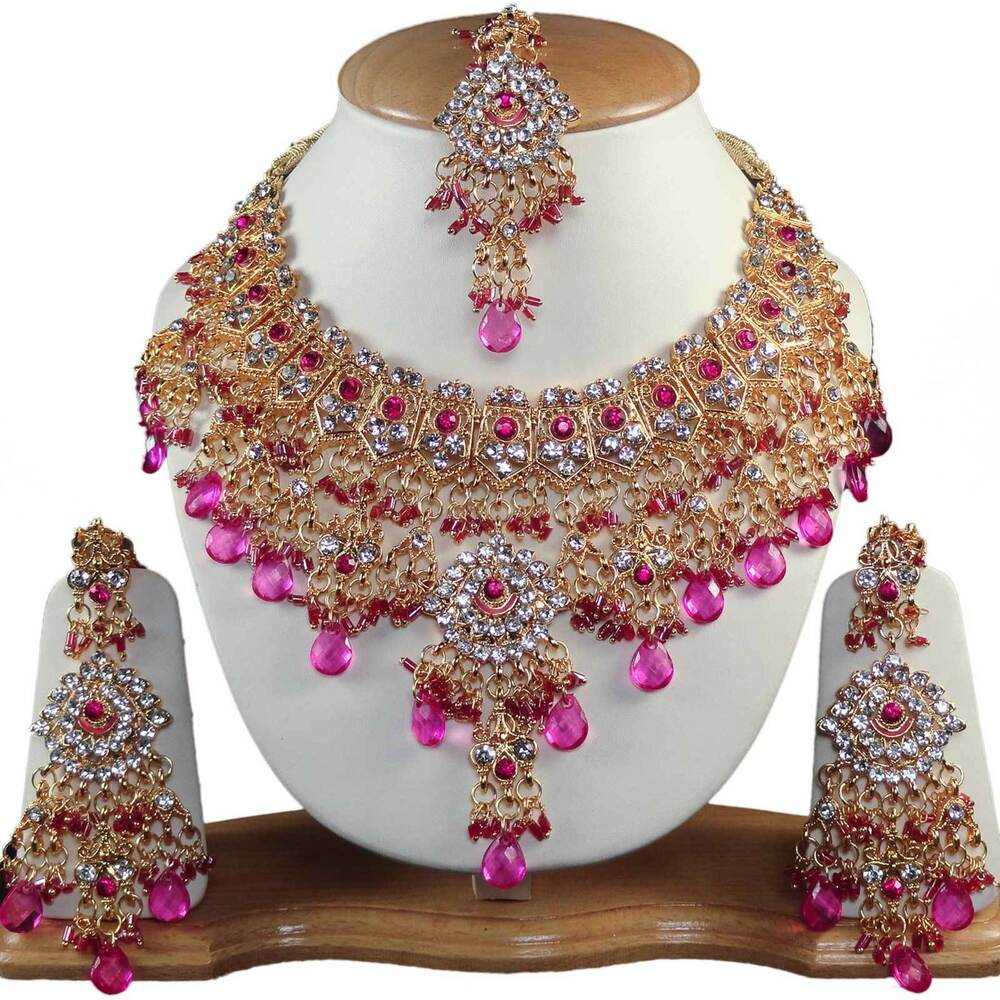Indian Fashion Jewelry Bollywood Bridal Gold Plated Cz: Indian Kundan Jewelry CZ Alloy Handmade Gold Plated