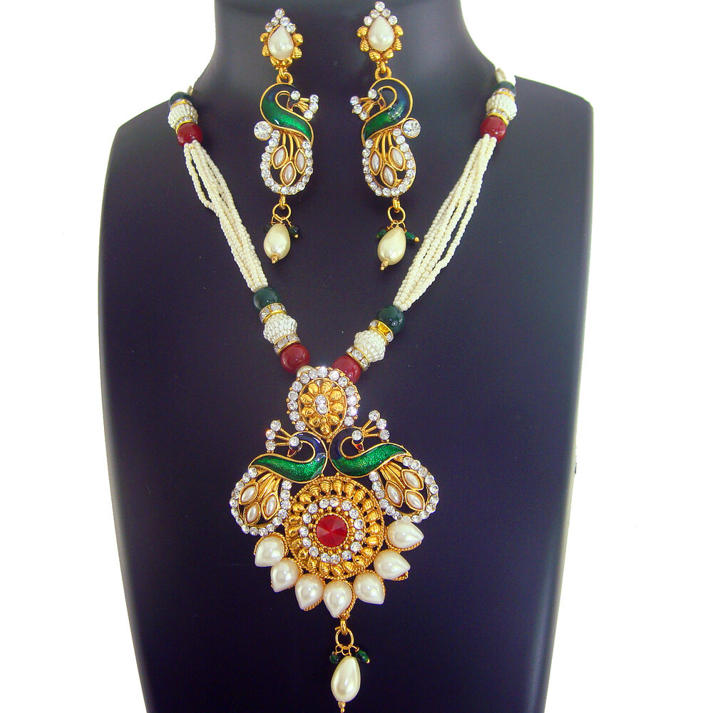 New Necklace Earring Set Gold Polki Jewellery Indian: AA 0 Indian Jewelry Bollywood Necklace Gold New Peacock