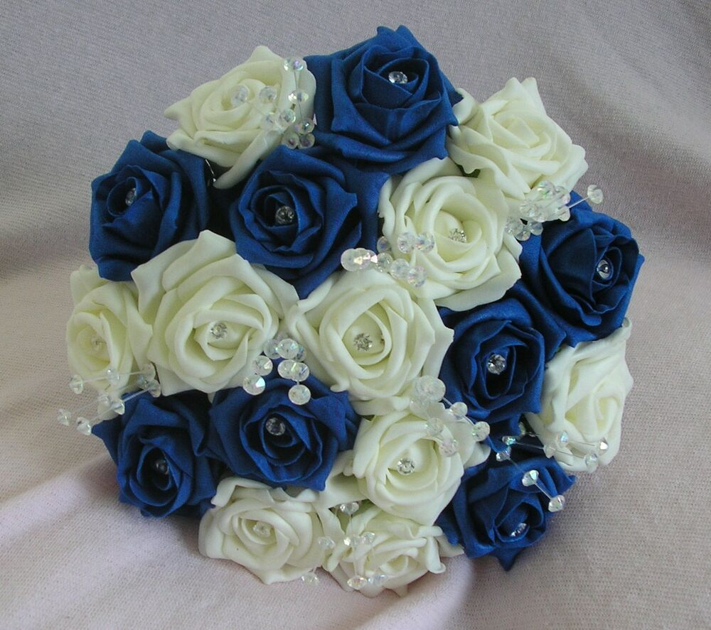 Royal Blue And Ivory Wedding Bouquets : Artificial flowers royal blue ivory foam rose bridesmaid