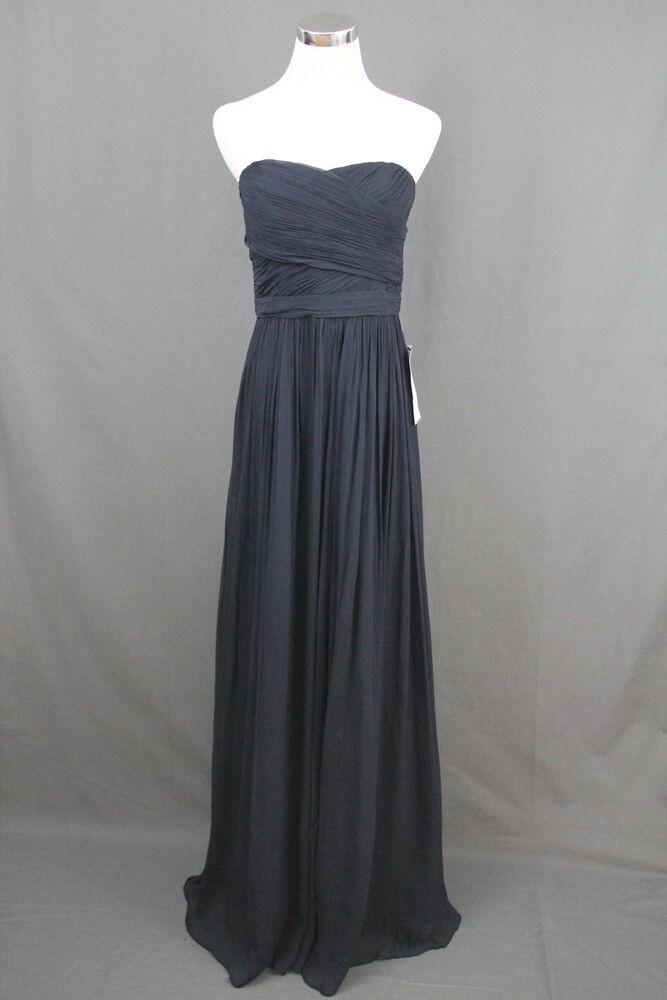 $365 J.Crew Arabelle Dress Silk Chiffon Party Navy Blue Bridesmaid 8 ...