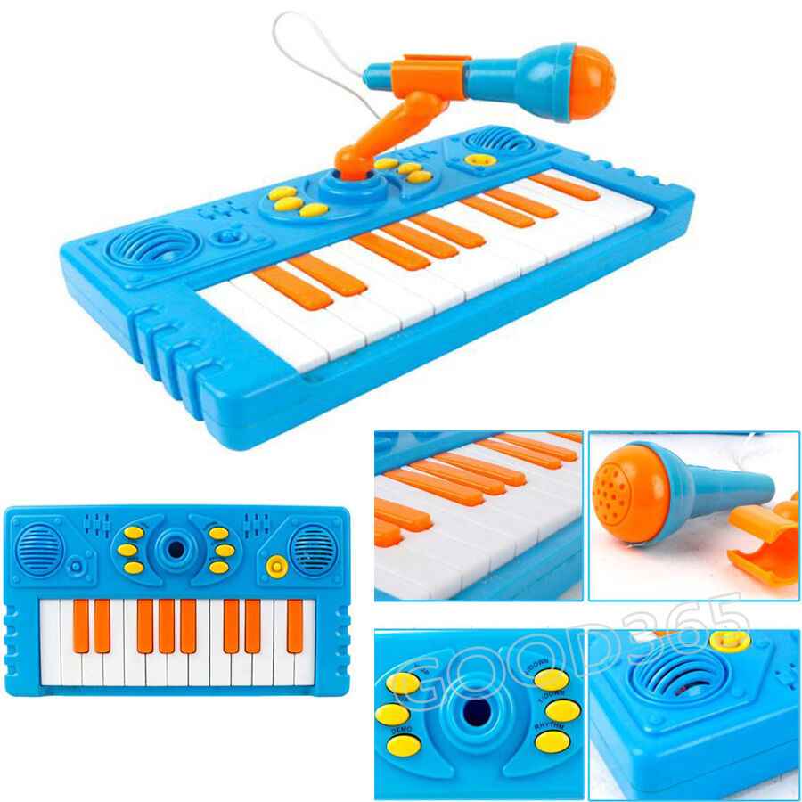 cartoon tastatur musik spielzeug mit a mikrofon f r kinder musik spielsachen ebay. Black Bedroom Furniture Sets. Home Design Ideas