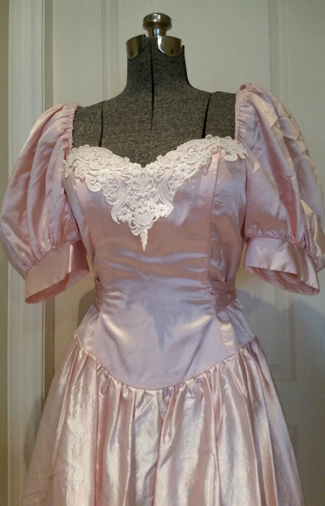 Vtg 1980 S Pink Princess Prom Formal Dress Steppin Out