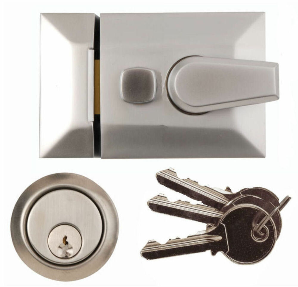 Satin Architectural Front Door Lock Nightlatch Rim Yale