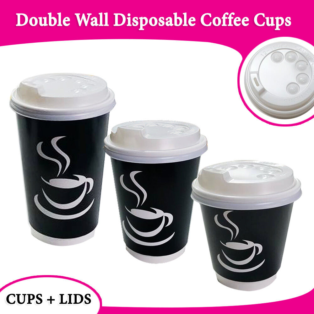 Coffee Cups With Lids : Disposable coffee cups double wall black