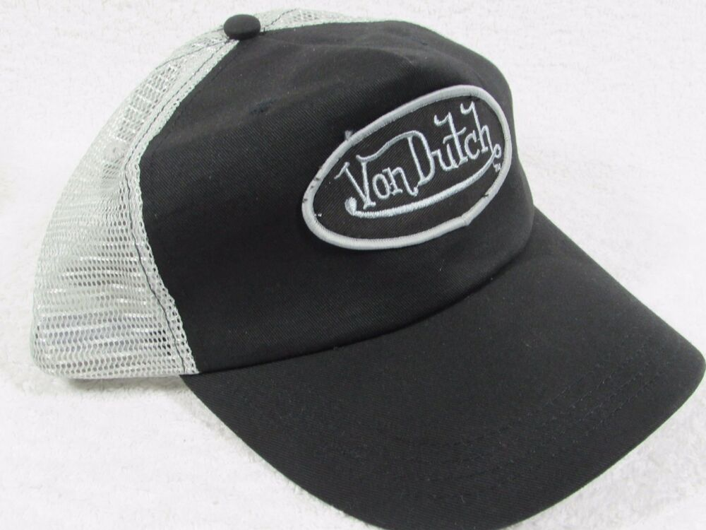 Details about NEW GENUINE Von Dutch Mesh Trucker Biker Snapback Hat Cap  Adjustable BLACK GREY 9d6c8015d72