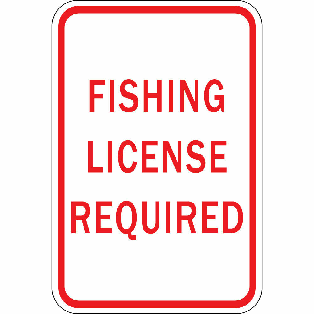 fishing license required aluminum metal sign ebay
