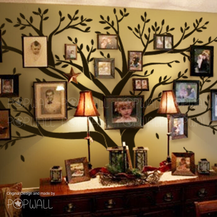 Big family photo tree wall decal for modern home original family wall sticker - Decor mural original ...