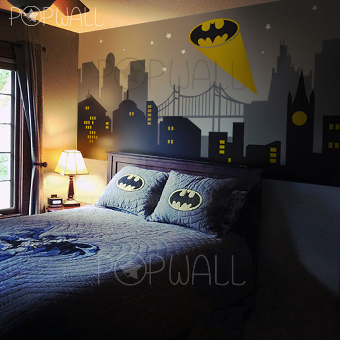 Batman Wall Light Diy : Gotham City Batman Light New York Cityscape Superhero wall decal sticker for kid eBay