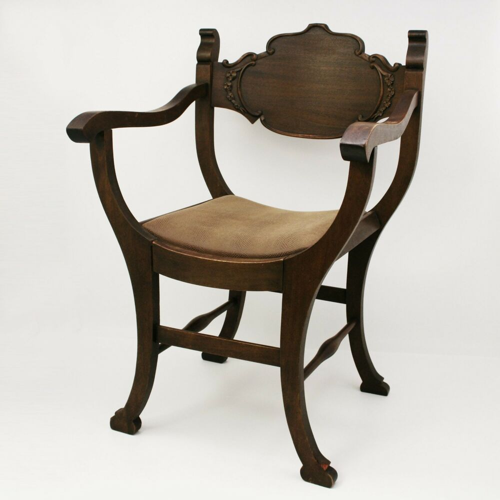 Antique Wooden Kitchen Chairs: Vtg Wood Arm Chair Cushioned Upholstery Antique Victorian