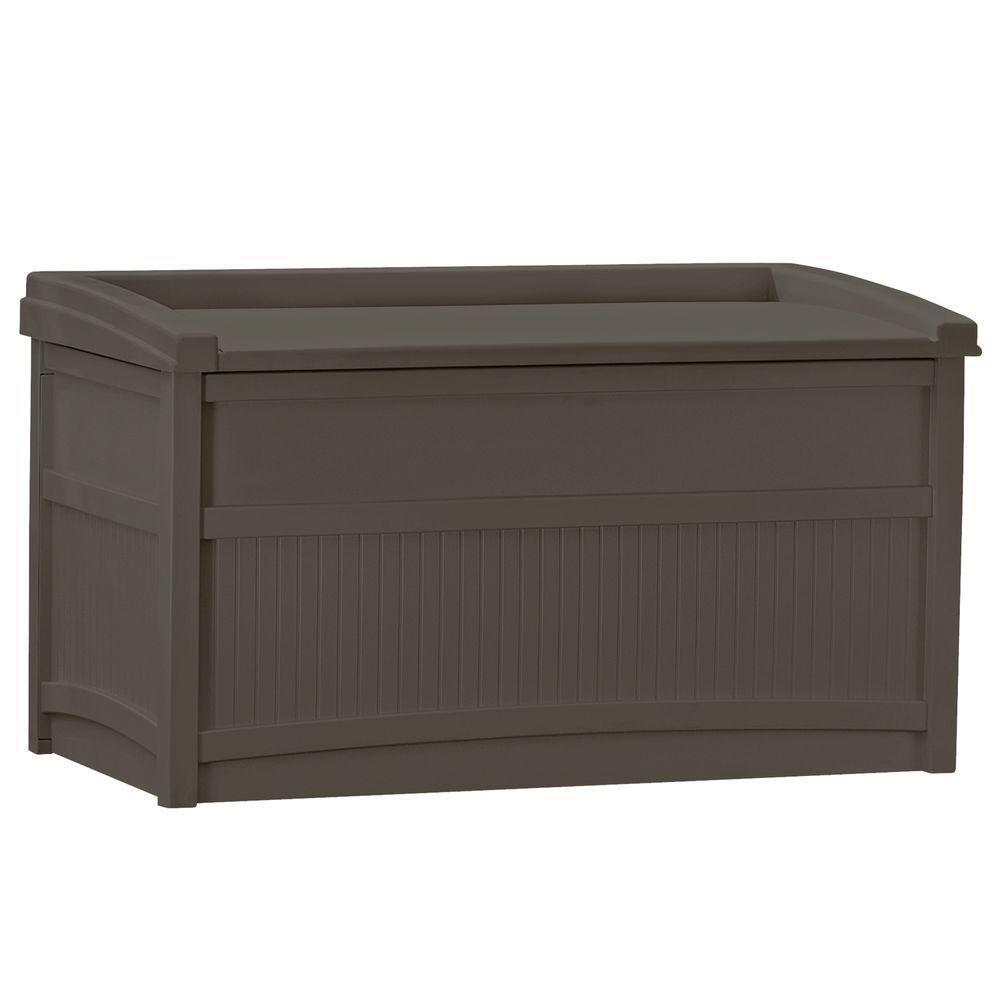 Deck Box Patio Storage Space Outdoor Garden Bench Seat 50 Gallon Resin Container Ebay